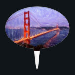 "Golden Gate Bridge -- mixed media painting Cake Topper<br><div class=""desc"">Golden Gate Bridge -- mixed media painting</div>"