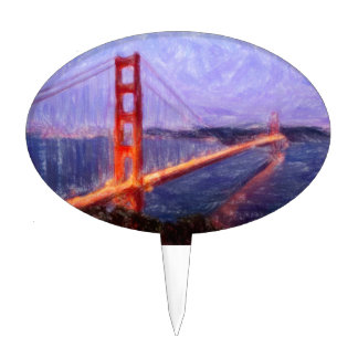 Golden Gate Bridge -- mixed media painting Cake Topper