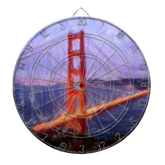 Golden Gate Bridge -- mixed media painting Dart Boards