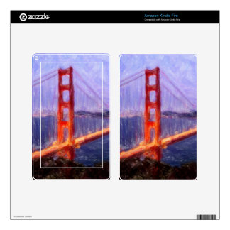 Golden Gate Bridge -- mixed media painting Decals For Kindle Fire
