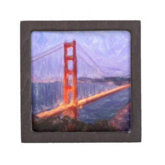 Golden Gate Bridge -- mixed media painting Keepsake Box
