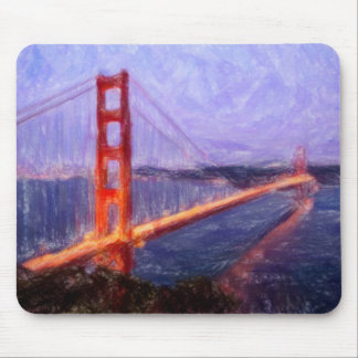 Golden Gate Bridge -- mixed media painting Mouse Pad