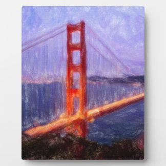 Golden Gate Bridge -- mixed media painting Plaque