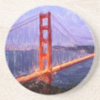 Golden Gate Bridge -- mixed media painting Sandstone Coaster