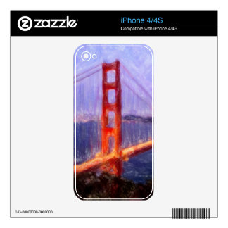 Golden Gate Bridge -- mixed media painting iPhone 4 Decal