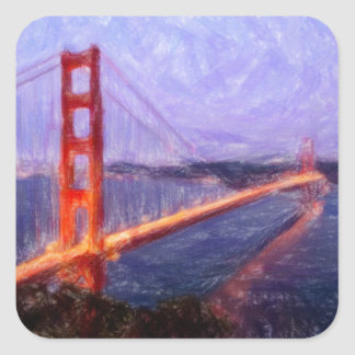 Golden Gate Bridge -- mixed media painting Square Sticker