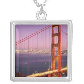 Golden Gate Bridge Square Pendant Necklace