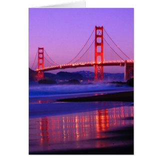 Golden Gate Bridge on Baker Beach at Sundown Greeting Cards