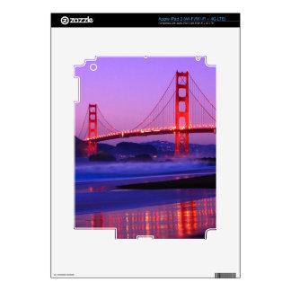 Golden Gate Bridge on Baker Beach at Sundown Decals For iPad 3