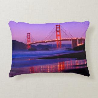 Golden Gate Bridge on Baker Beach at Sundown Decorative Pillow