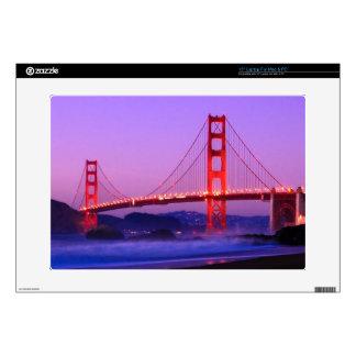 Golden Gate Bridge on Baker Beach at Sundown Laptop Decals