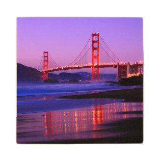 Golden Gate Bridge on Baker Beach at Sundown Wood Coaster