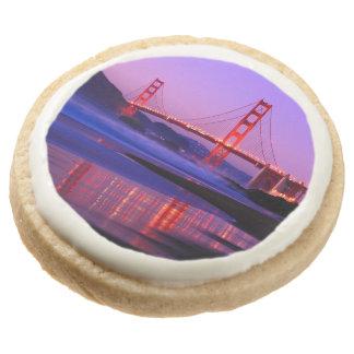 Golden Gate Bridge on Baker Beach at Sundown Round Sugar Cookie