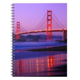 Golden Gate Bridge on Baker Beach at Sundown Note Books