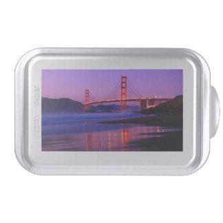 Golden Gate Bridge on Baker Beach at Sundown Cake Pan