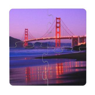 Golden Gate Bridge on Baker Beach at Sundown Puzzle Coaster
