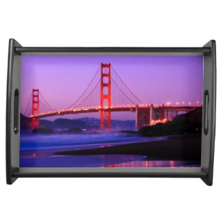 Golden Gate Bridge on Baker Beach at Sundown Serving Platter