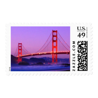 Golden Gate Bridge on Baker Beach at Sundown Postage Stamps