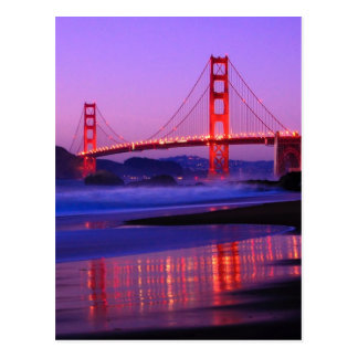 Golden Gate Bridge on Baker Beach at Sundown Postcard