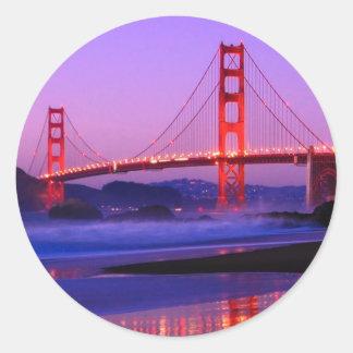 Golden Gate Bridge on Baker Beach at Sundown Round Sticker