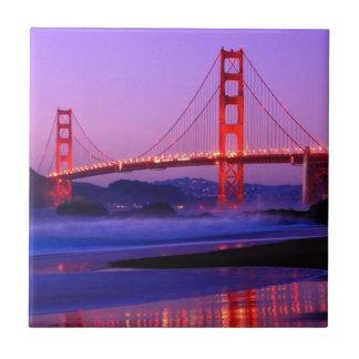 Golden Gate Bridge on Baker Beach at Sundown Tiles