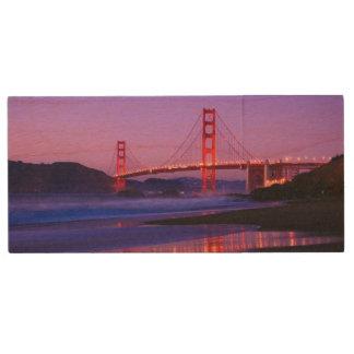 Golden Gate Bridge on Baker Beach at Sundown Wood USB Flash Drive