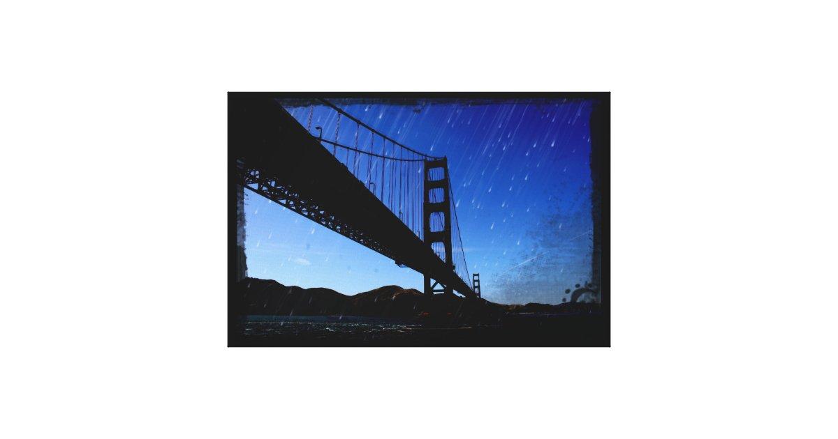 Golden Gate Bridge Photo Edit Rainy Night Canvas Print