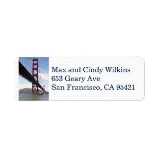 Golden Gate Bridge return address label