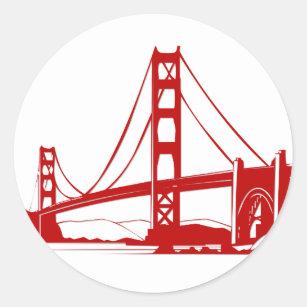 Golden Gate Bridge San Francisco Ca Clic Round Sticker