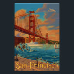 "Golden Gate Bridge - San Francisco, CA Poster<br><div class=""desc"">Here is one of our Vintage-Style Travel Posters of an Historic Landmark in San Francisco,  the City by the Bay.  All designs are custom made to resemble posters of the early 1900&#39;s.  These pieces of artwork carry high detail,  deep color,  and our careful attention to quality.</div>"