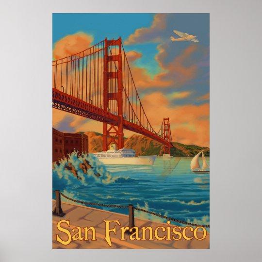 Golden Gate Bridge San Francisco California Sunset Picture: Golden Gate Bridge - San Francisco, CA Poster