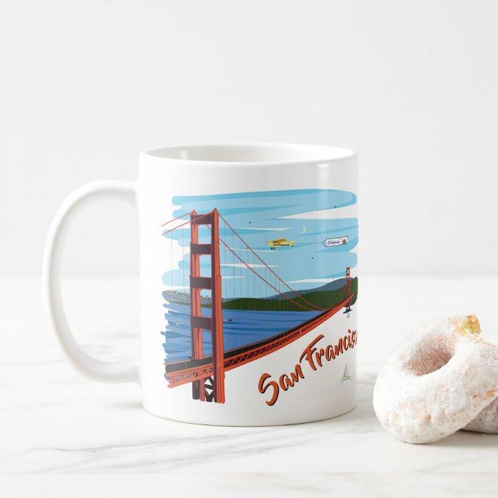 Golden Gate Bridge San Francisco Illustration Coffee Mug Zazzle Com
