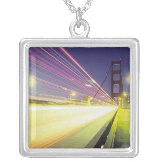 Golden Gate Bridge, traffic lights, San Square Pendant Necklace