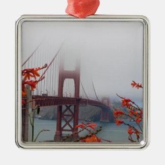 Golden Gate Bridge with Orange Flowers Ornaments