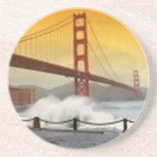 Golden Gate Bridge with Spraying Water Drink Coaster