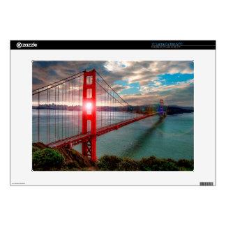"Golden Gate Bridge with Sun Shining through. 15"" Laptop Decals"
