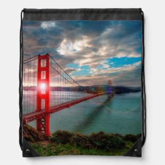 Golden Gate Bridge with Sun Shining through. Drawstring Backpack