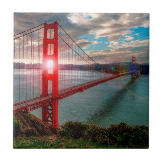 Golden Gate Bridge with Sun Shining through. Small Square Tile