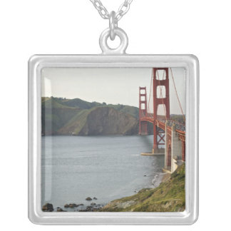 Golden Gate bridge with view to Marin County Square Pendant Necklace