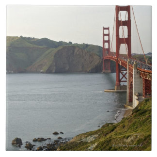 Golden Gate bridge with view to Marin County Large Square Tile