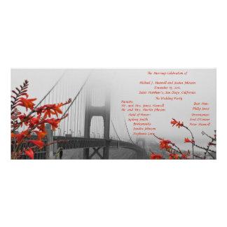 Golden Gate con programa anaranjado del boda Diseño De Tarjeta Publicitaria