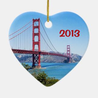 Golden Gate Heart Ornament