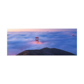 Golden Gate In Fog Stretched Canvas Print