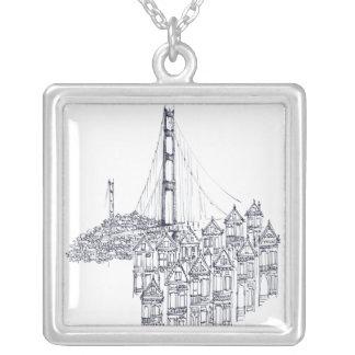 Golden Gate Square Pendant Necklace