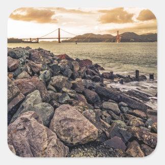 Golden Gate Sunset Square Sticker