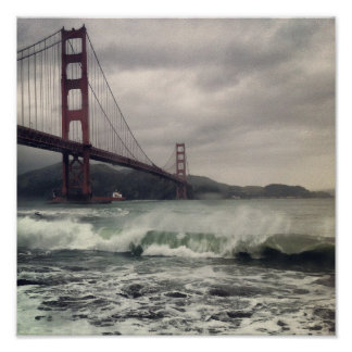"Golden Gate Waves 12"" x 12"" Poster"