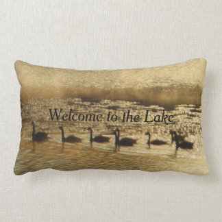 Golden Geese Welcome to the Lake Come Back Lumbar Pillow