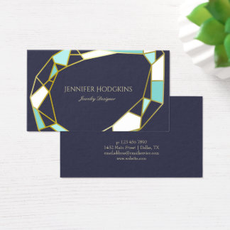 Golden Gem Outlines | Navy Blue | Jewelry Designer Business Card