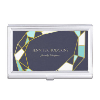 Golden Gem Outlines | Navy Blue | Jewelry Designer Business Card Holder