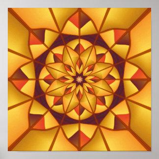 Golden geometric flourish poster